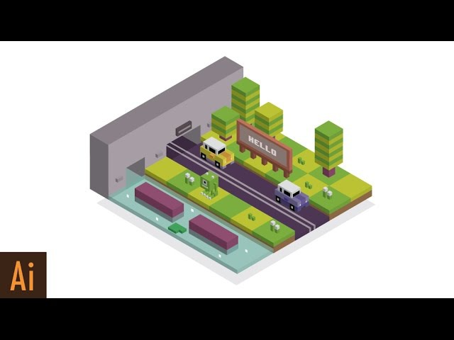 How to Make Isometric City (Crossy Road ) | Illustrator Tutorial
