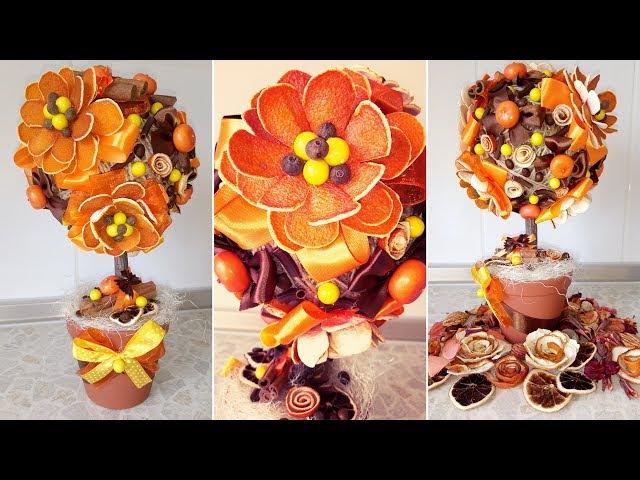 ПОДАРОК РУЧНОЙ РАБОТЫ — топиарий с цветами из апельсина! Мастер-класс на 8 марта от Алены Тихоновой