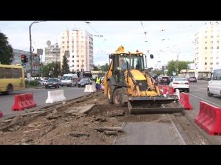 В Твери начались работы по замене трамвайных путей на площади Капошвара