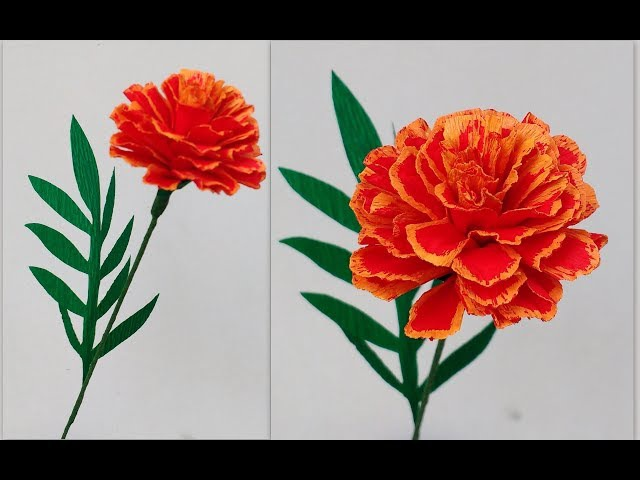 How to make Paper Flowers French Marigold \ Tagetes Patula ( flower 193)