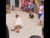 The cutest B-girl dancing in flip flops