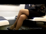 Crossed Legs and Heels on Train Mini Skirt Stocking in public # 42