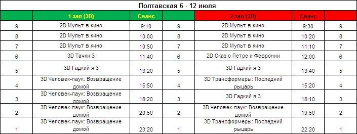 Афиша кинотеатра Ковтюха