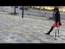 Amputee woman street crutching