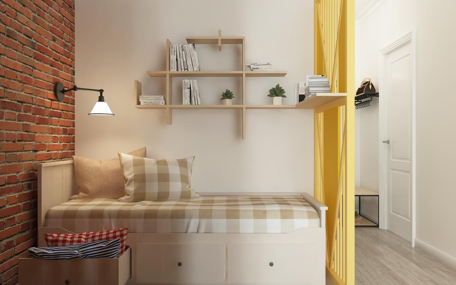 Проект квартиры-студии 58 м2 в стиле лофт.