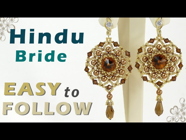 How to make earrings using 14mm rivoli 4 mm round beads and bicones