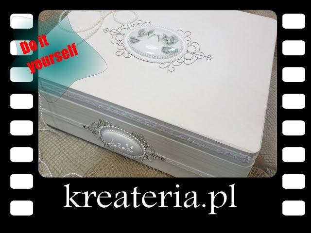 Jak ozdobić pudełko na pamiątki ze ślubu - KreaCraftShow006 - kreateria.pl