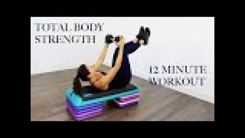 12 MINUTE TOTAL BODY STRENGTH WORKOUT - STEP AND DUMBBELLS