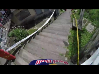 Urban Downhill MTB Over Crazy Stairs and Gaps