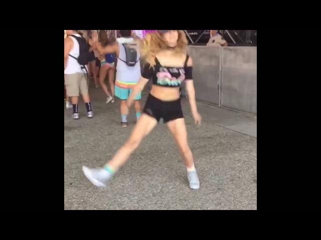 Shuffle dance rave girl in festival ( Gabby David)