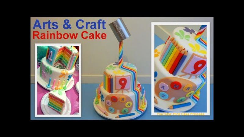 Gravity Defying Back to School Cake / Arts Craft Rainbow Cake How to - Pink Cake Princess