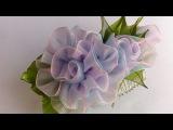 Украшение на гребень Канзаши/Двухцвецная роза с бутонами из органзы/Kanzashi Rose/Organza...