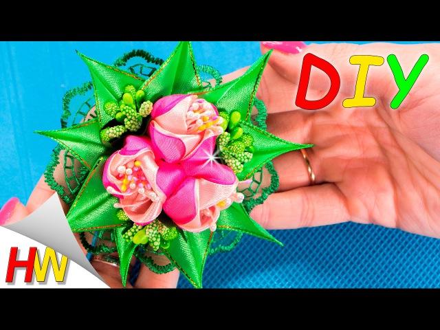 Тюльпаны Канзаши Мастер-класс. Цветы из атласных лент. Мария Калугина.