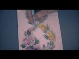 Открытка  на 8 марта с цветами рисуем акварельными красками подарок маме и бабушке. Мимоза и розы
