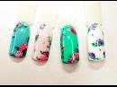 Дизайн ногтей. Рисунки гель-лаком. Винтажные розы. Nail design. Gel polish paintings. Vintage roses.