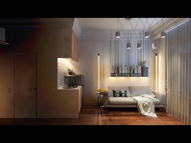 Интерьер очень маленькой квартиры студии. Дизайн гостинка студии 16 кв.м. Фото