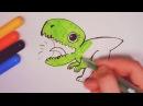 Развивающий мультик - как нарисовать динозавра. Урок рисования динозавра