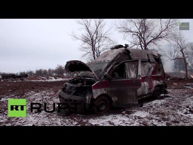 19 февраля 2015. Дебальцево. Ukraine Bodies of Kiev troops litter abandoned Debaltsevo camp site *GRAPHIC*