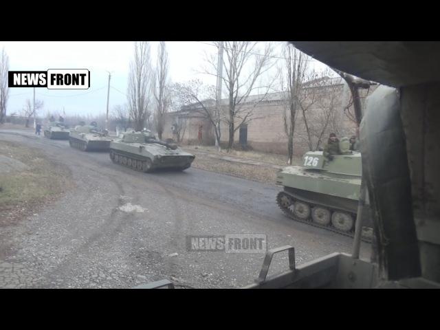 9 февраля 2015 Путь к блокпосту под Дебальцево. Колонна техники армии Новороссии