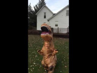 Kid in T-Rex costume chases dog   ORIGINAL