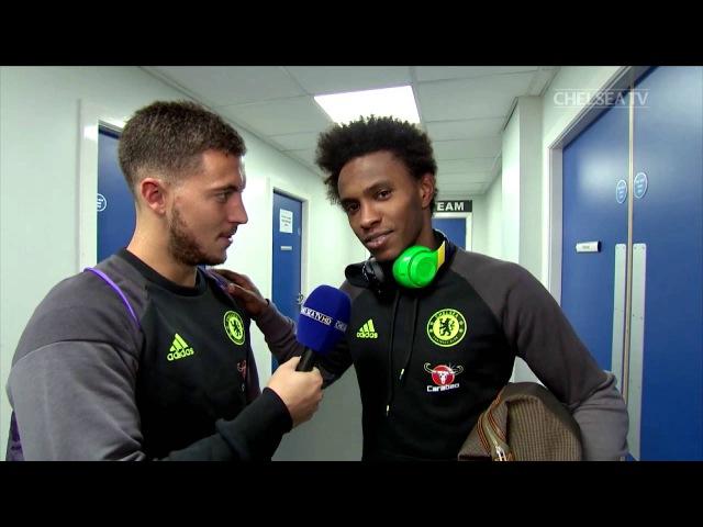 FUNNY! PLAYERS REACT TO BEAUTIFUL GOALS Hazard interviews Willian, Costa and Oscar