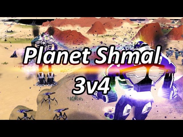 Planet Shmal 3v4 Supreme Commander: Forged Alliance