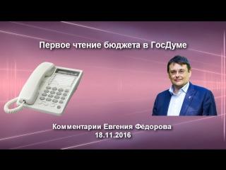 Первое чтение бюджета в ГосДуме. Комментарии Е. Фёдорова 18.11.16