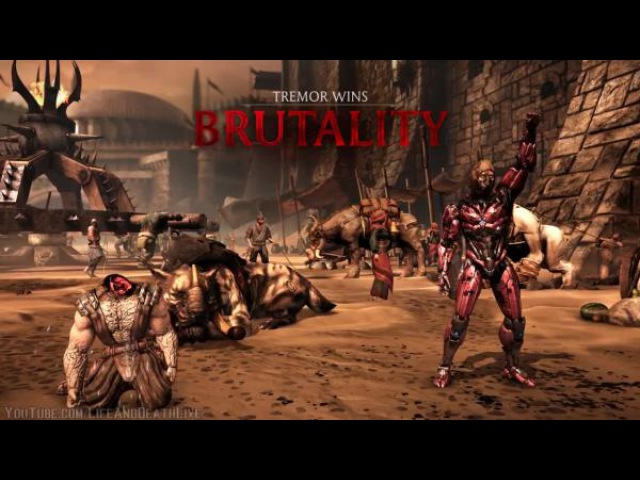 Mortal Kombat XL - All Characters-NPCs Perform Triborg Head Strong Brutality