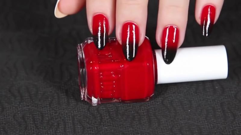 Маникюр в стиле Омбре красный и черный