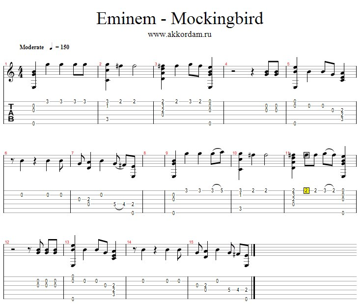 Eminem Mockingbird на гитаре