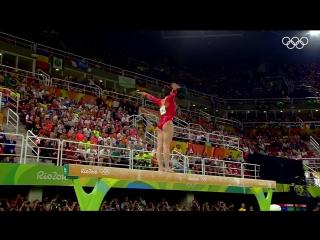 Лори Эрнандес в Рио, упражнения на бревне
