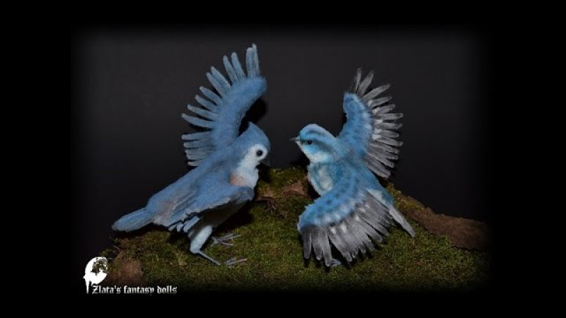 Birds Tufted Titmouse and Cerulean Warbler Soft Sculpture by Zlata's fantasy dolls.