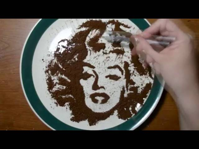 Drawing with Coffee Grounds Marilyn Monroe Food Art