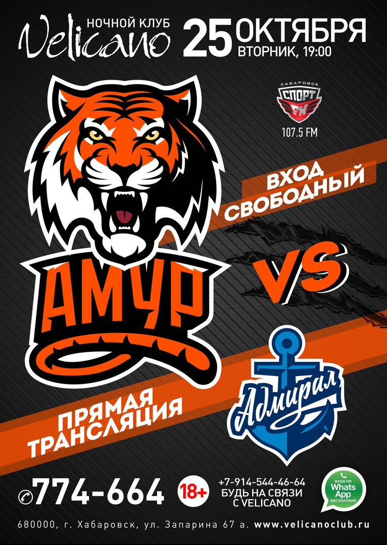 Афиша Хабаровск 25.10 АМУР vs Адмирал Velicano