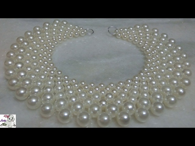 1 How to make Pearl Beaded Necklace || Diy || jewellery making at home || Handmade Jewellery