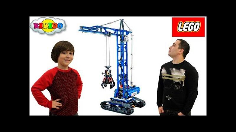 Лего Гусеничный Кран 42042 Как Папа с Камилем строили гараж. Lego Technic Crawler Crane. Кикидо
