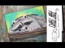 Как нарисовать енота сухой пастелью! Dari_Art