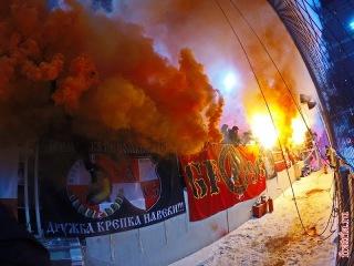 Красно-белая трибуна на матче Спартак - Рубин 05.12.16 г.
