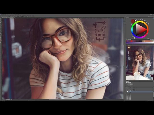 Digital painting / girl in the cafe [ speedpaint ]
