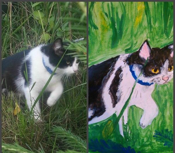 Здравствуйте! Меня зовут Кузя. Нашли меня маленьким котёнком, а сейчас я вырос и каждое лето езжу на дачу. Хозяева купили фотоаппарат и краски, сфотографировали меня, нарисовали, да ещё и послали свои творения на конкурс. А я и рад был позировать! Вот  здесь я в процессе охоты!