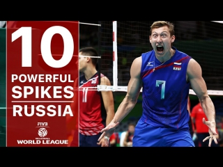 TOP 10 The Most Powerful Volleyball Spikes - Russia - FIVB Volleyball World League 2017