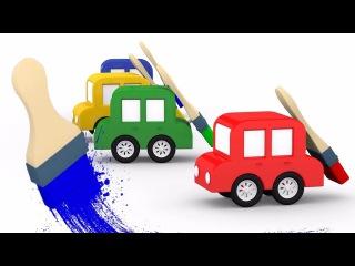 🏁A pista de corrida🏁 4 CARROS coloridos. As CORES para crianças. Desenhos animados de carros