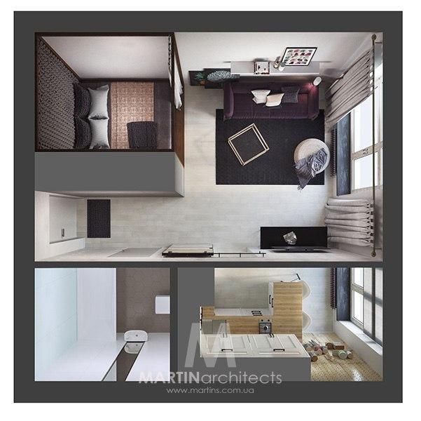 Проект квартиры 24-27 м (по разным источникам).