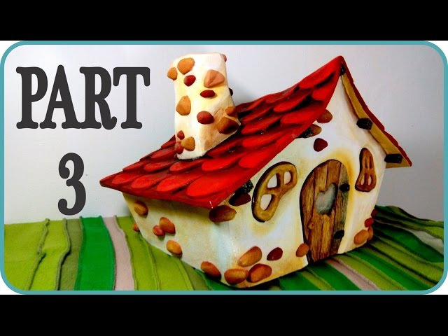 ❣DIY Fairy House - Part 33 - Making roof tiles, chimney, faux wood and stone details and painting❣