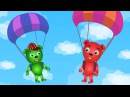 Mega Gummy bear playing with giant balloon finger family rhymes for kids Gummybear ice cream