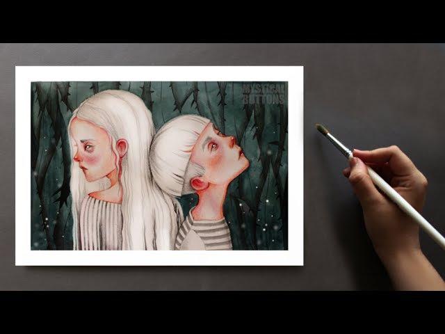 Близнецы \ Иллюстрация акварелью