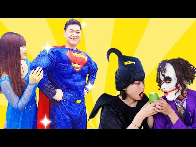 Joker and Maleficent PRANK Spiderman vs Frozen Elsa into a HUT Superman drop Wallet Superhero funny