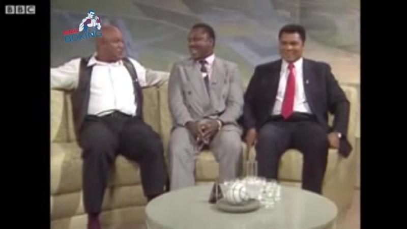 Джордж Форман, Мухаммад Али и Джо Фрейзер на телепередаче