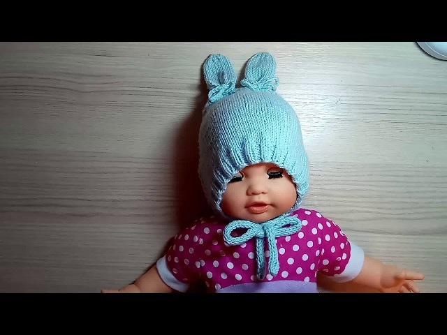 Анатомический чепчик для новорожденного подробный МК,шапка-зайка
