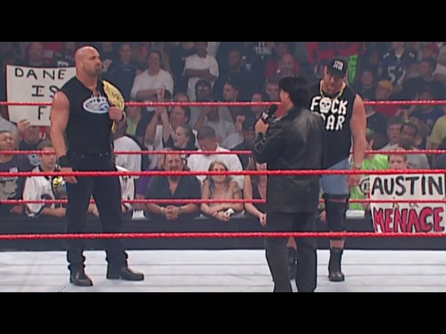 Goldberg obliterates Eric Bischoff with a Spear Raw Sept 22 2003